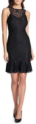 Kensie Sleeveless Lace Flounce Dress