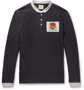 Kent & Curwen Appliqued Cotton-Jersey Polo Shirt - Men - Navy