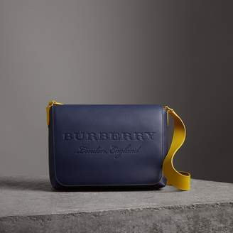 Burberry Large Two-tone Embossed Leather Messenger Bag