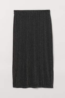 H&M Glittery Pencil Skirt - Silver