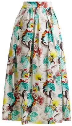 Mary Katrantzou Floral Print Cotton Poplin Midi Skirt - Womens - White Print