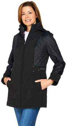Isaac Mizrahi Live! 3-in-1 Soft Shell Coat with Quilted Puffer Vest