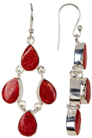 Exex Design Jewelry Sterling Silver Belleair Red Coral Earrings