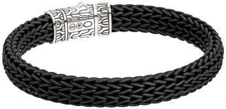 John Hardy Classic Chain 10.5mm Station Bracelet in Black Rubber Bracelet