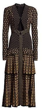 Proenza Schouler Women's Tiered Puff-Sleeve Midi Dress - Size 0
