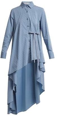 Palmer//harding - Tie Waist Dobby Dot Chambray Shirt - Womens - Blue Multi