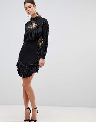 Forever Unique Fringe Trim Mini Dress