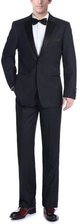Verno Big Men's Dark Navy Classic Fit Two-piece Notch Collar Tuxedo With Pipping Finish