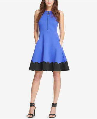 DKNY Zip-Up Scalloped Fit & Flare Dress