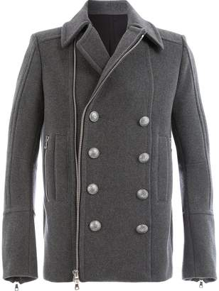 Balmain zipped double-breasted coat