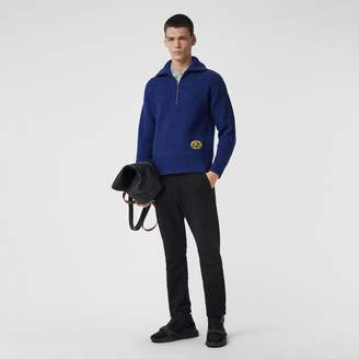 Burberry Rib Knit Wool Cashmere Blend Half-zip Sweater, Blue