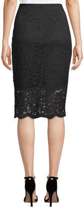 Nicole Miller New York Lace Illusion Pencil Skirt