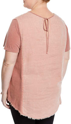 XCVI Caris Distressed Short-Sleeve Washed Top, Plus Size