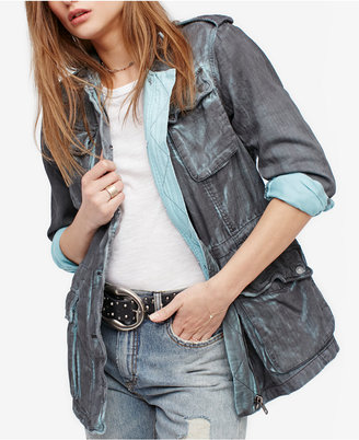 Free People Double Cloth Cotton Utility Jacket $148 thestylecure.com