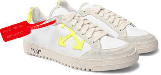 Off-White Off White 2.0 Distressed Suede-Trimmed Canvas Sneakers