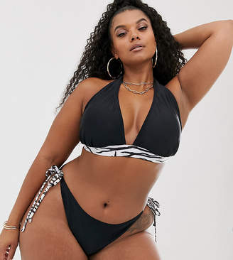 South Beach Curve Exclusive mix and match string halter bikini top in zebra