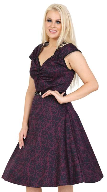 Lady Vintage - Dark Purple Damask Dress