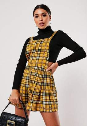 Missguided Yellow Plaid Chain Print Romper