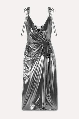 ATTICO Gathered Stretch-lamé Wrap Dress - Silver