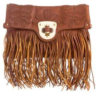 Alexander McQueen Leather Fringe Fold-Over Clutch
