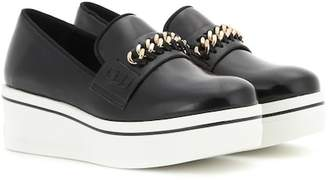 Stella McCartney Embellished faux leather platform slip-on sneakers