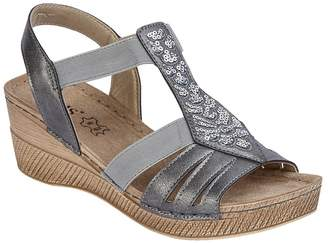 Lotus Grey 'Saltaran' Mid Wedge Heel T-Bar Sandals