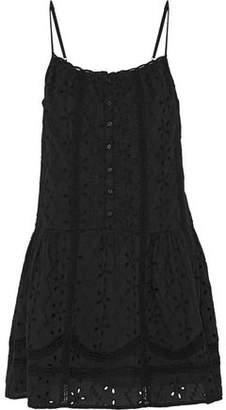 Joie Austen Crochet-Trimmed Broderie Anglaise Cotton Mini Dress