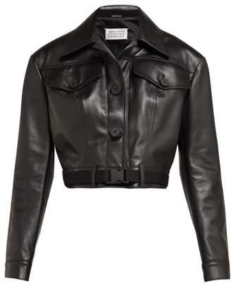 Maison Margiela Cropped Leather Jacket - Womens - Black