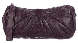 Miu Miu Pleated Leather Wristlet
