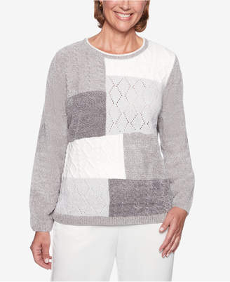 Alfred Dunner Petite Stocking Stuffers Colorblocked Textured-Knit Sweater
