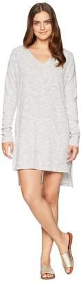 Mod-o-doc Slub Mini Stripe Drop Shoulder Hooded Tunic Cover-Up Women's Blouse