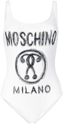 Moschino logo scoop back swimsuit