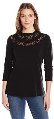 NY Collection Women's Solid 3/4 Sleeve V High Neck with Lace Panels