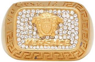 Versace Gold Crystal Square Medusa Ring