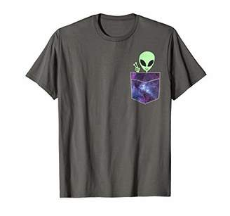 Alien Pocket T Shirt | UFO from Cosmic Space Peace sign Tee