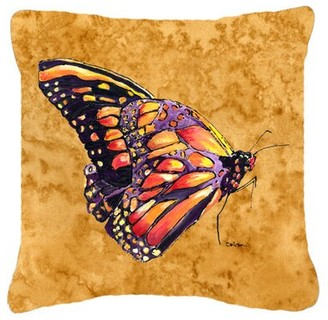 East Urban Home Butterfly Indoor/Outdoor Square Orange Throw Pillow East Urban Home