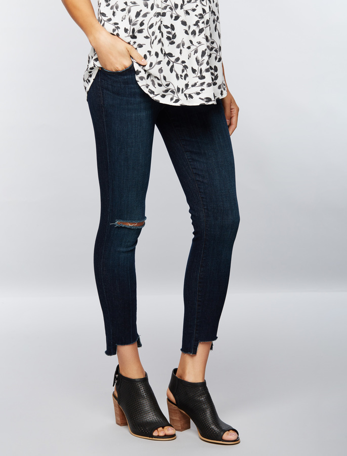 A Pea In The PodJ Brand Secret Fit Belly Uneven Hem Maternity Jeans