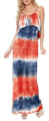 White Mark Women's Tie Dye Overlay Maxi Dress