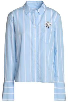 Equipment Embroidered Striped Cotton-Poplin Shirt