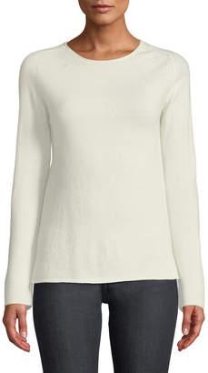 Neiman Marcus Basic Cashmere Crewneck Pullover Sweater, Ivory
