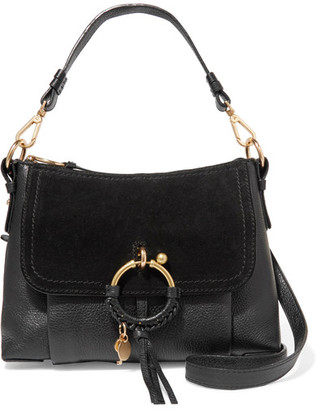 See by Chloé - Joan Small Textured-leather And Suede Shoulder Bag - Black $460 thestylecure.com
