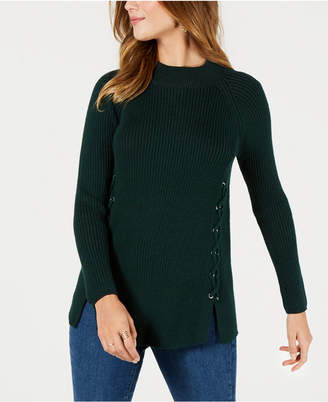 Style&Co. Style & Co Lace-Up Mock-Turtleneck Sweater, Created for Macy's