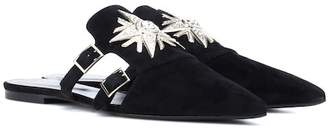 Roger Vivier Sin Star Strass suede slippers