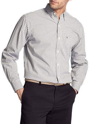 Izod Premium Essential Wovens Long Sleeve Gingham Button-Front Shirt-Big and Tall
