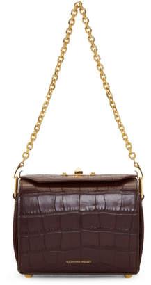 Alexander McQueen Burgundy Croc Box Bag 19 Bag