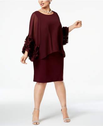 Sl Fashions Plus Size Chiffon-Rosette Popover Dress
