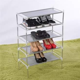 Yosoo YOSOO 4/5/6 Tier Metal Fabric Shoes Shelves Shoes Rack Shoes Organizer Shoes Rack Stand Storage Organizer Shelf Cabinet Closet(5 Tiers)
