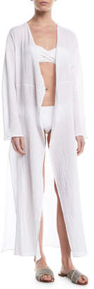 Mata Pondicherie Open-Front Long-Sleeve Swim Coverup