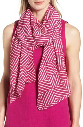 Eileen Fisher Geo Print Organic Cotton Blend Scarf