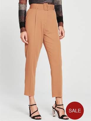 Wallis Pique High Waist Self Belt Trouser - Toffee